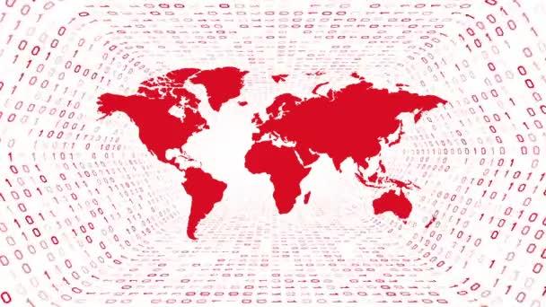 rote Weltkarte Silhouette bilden roten binären Tunnel auf weißem Hintergrund. nahtlose Schleife. mehr Symbole und Farboptionen in meinem Portfolio.
