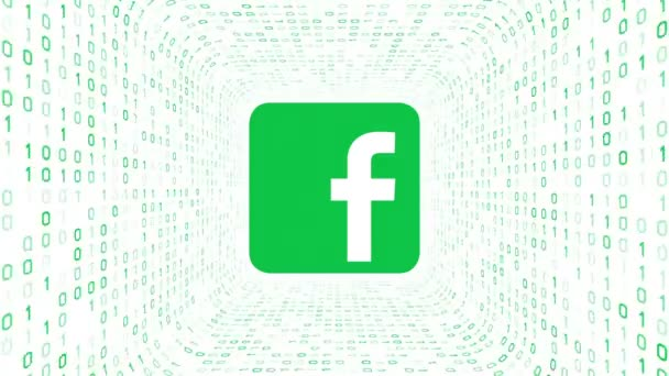 Editorial Animation: Green Facebook logo form green binary tunnel on white background. Seamless loop. More logotypes and color options available in my portfolio.