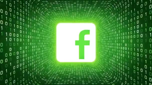 Editorial Animation White Facebook Logo Form White Binary Tunnel On Green Background Seamless Loop More Logotypes And Color Options Available In My Portfolio