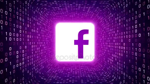 Editorial Animation: White Facebook logo form white binary tunnel on violet background. Seamless loop. More logotypes and color options available in my portfolio.