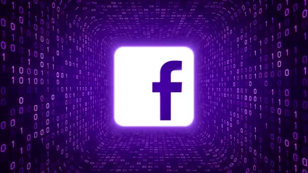 Editorial Animation White Facebook Logo Form Purple Binary Tunnel On Purple Background Seamless Loop More Logotypes And Color Options Available In My Portfolio