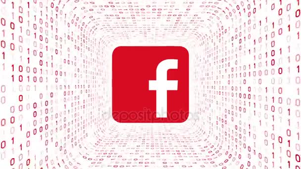 Editorial Animation: Red Facebook logo form red binary tunnel on white background. Seamless loop. More logotypes and color options available in my portfolio. Stock Video