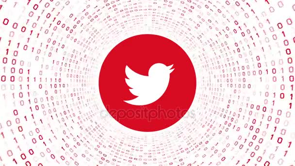 Editorial Animation: Red Twitter logo form red binary tunnel on white background. Seamless loop. More logotypes and color options available in my portfolio.