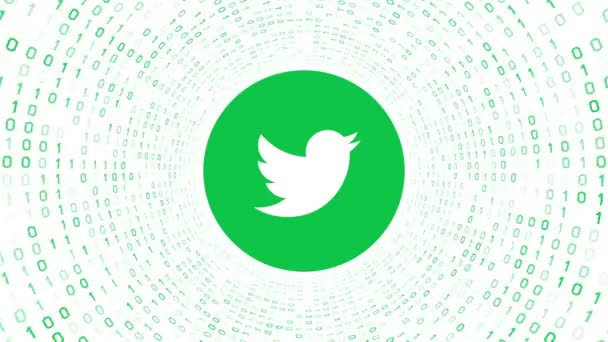 Editorial Animation: Green Twitter logo form green binary tunnel on white background. Seamless loop. More logotypes and color options available in my portfolio.