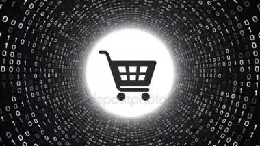 Black shopping cart icon form white binary tunnel on black background. Online shopping concept. Seamless loop. More icons and color options available in my portfolio.