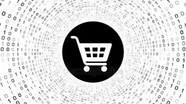 White shopping cart icon form black binary tunnel on white background. Online shopping concept. Seamless loop. More icons and color options available in my portfolio.