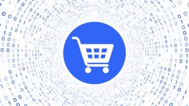 White shopping cart icon form blue binary tunnel on white background. Online shopping concept. Seamless loop. More icons and color options available in my portfolio.