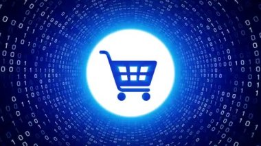 Blue shopping cart icon form white binary tunnel on blue background. Online shopping concept. Seamless loop. More icons and color options available in my portfolio.