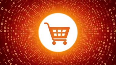 Orange shopping cart icon form yellow binary tunnel on orange background. Online shopping concept. Seamless loop. More icons and color options available in my portfolio.