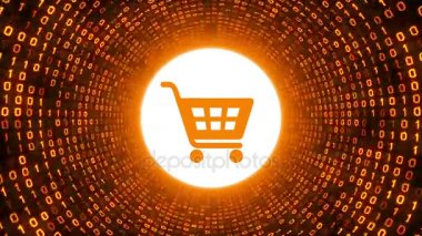 Orange shopping cart icon form gold binary tunnel on black background. Online shopping concept. Seamless loop. More icons and color options available in my portfolio.