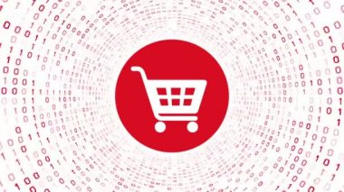 White shopping cart icon form red binary tunnel on white background. Online shopping concept. Seamless loop. More icons and color options available in my portfolio.