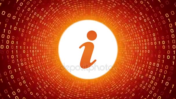 weiße Informationssymbole bilden einen gelben binären Tunnel auf orangefarbenem Hintergrund. nahtlose Schleife. mehr Symbole und Farboptionen in meinem Portfolio.