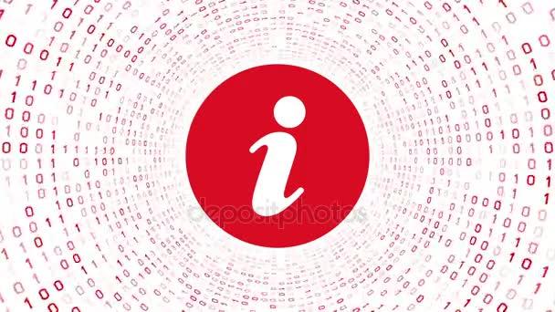 Piros információs ikon piros képernyő bináris alagút-fehér háttér. Varrat nélküli hurok. További ikonok és színválaszték áll rendelkezésre az én portfólió.