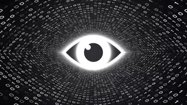 White Eye Icon Form White Binary Tunnel Black Background Computer
