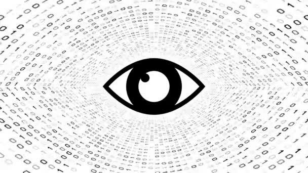 Fekete szem ikonra képernyő fekete bináris alagút-fehér alapon. Számítógép-biztonsági koncepció. Varrat nélküli hurok. További ikonok és színválaszték áll rendelkezésre az én portfólió.