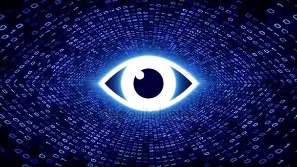 Bílé oko ikonu formuláře modré binární tunel na černém pozadí. Koncepce zabezpečení počítače. Bezešvá smyčka. Další ikony a nastavení barev, které jsou k dispozici v mém portfoliu.