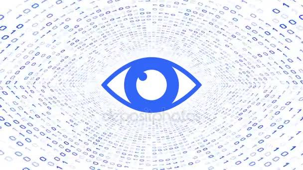 Das blaue Auge-Symbol bildet einen blauen binären Tunnel auf weißem Hintergrund. Computersicherheitskonzept. nahtlose Schleife. mehr Symbole und Farboptionen in meinem Portfolio.