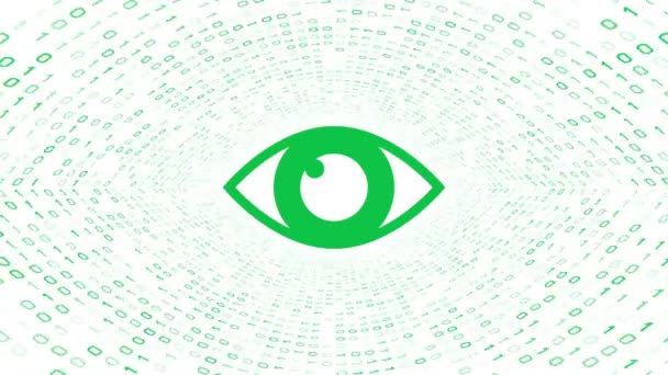 Green eye icon form green binary tunnel on white background. Computer security concept. Seamless loop. More icons and color options available in my portfolio.