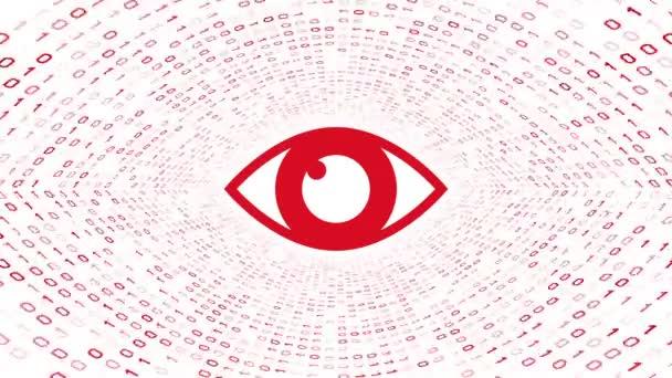 Červených očí ikonu formuláře Červený binární tunel na bílém pozadí. Koncepce zabezpečení počítače. Bezešvá smyčka. Další ikony a nastavení barev, které jsou k dispozici v mém portfoliu.