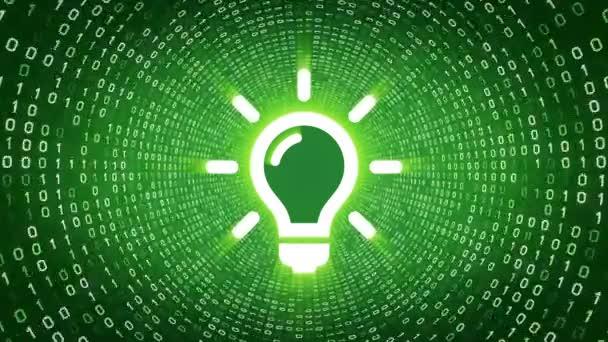 Žárovka bílá ikona formuláře bílé binární tunel na zeleném pozadí. Koncepty a nápady. Bezešvá smyčka. Další ikony a nastavení barev, které jsou k dispozici v mém portfoliu