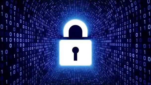Fehér bezár ikon képernyőn kék bináris alagút-fekete háttér. Számítógép-biztonsági koncepció. Varrat nélküli hurok. További ikonok és színválaszték áll rendelkezésre az én portfólió.