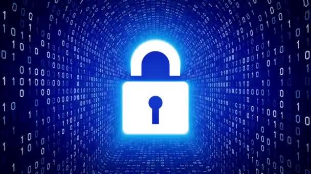 Fehér zár ikonra képernyő fehér bináris alagút a kék háttér. Számítógép-biztonsági koncepció. Varrat nélküli hurok. További ikonok és színválaszték áll rendelkezésre az én portfólió.