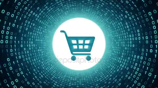 Cyan shopping cart icon form cyan binary tunnel on black background. Online shopping concept. Seamless loop. More icons and color options available in my portfolio.