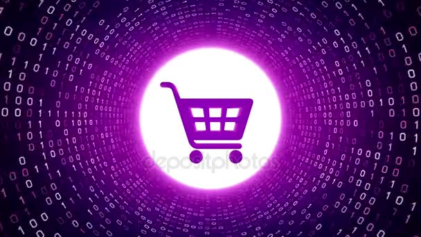 Violet shopping cart icon form white binary tunnel on violet background. Online shopping concept. Seamless loop. More icons and color options available in my portfolio.