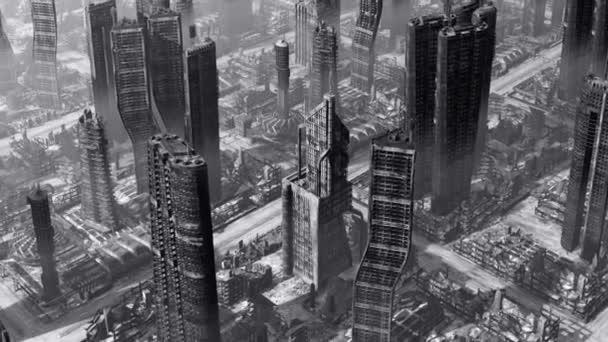 Nejlepší letecký pohled na zničené město. Černá a bílá odstín. Bezešvá smyčka. Další možnosti barev a úhly kamery, které jsou k dispozici v mém portfoliu