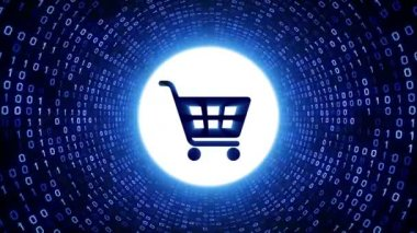 Blue shopping cart icon form white binary tunnel on black background. Online shopping concept. Seamless loop. More icons and color options available in my portfolio.