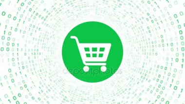 White shopping cart icon form green binary tunnel on white background. Online shopping concept. Seamless loop. More icons and color options available in my portfolio.