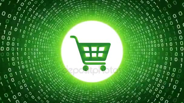 Green shopping cart icon form white binary tunnel on green background. Online shopping concept. Seamless loop. More icons and color options available in my portfolio.