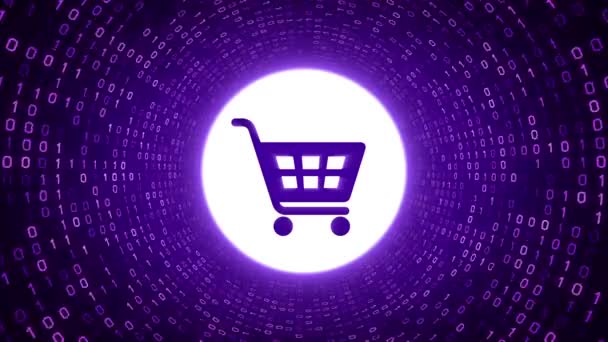 Purple shopping cart icon form white binary tunnel on purple background. Online shopping concept. Seamless loop. More icons and color options available in my portfolio.