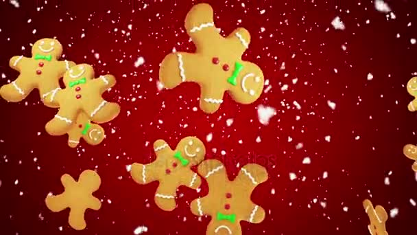 Gingerbread Man Shaped Christmas Cookies Falling On Red Background Seamless Loop More Color Options Available In My Portfolio