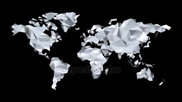Silver World map made of polygonal triangles on black background. Seamless loop. Alpha channel included. Ultra HD - 4K Resolution. More color options available in my portfolio.