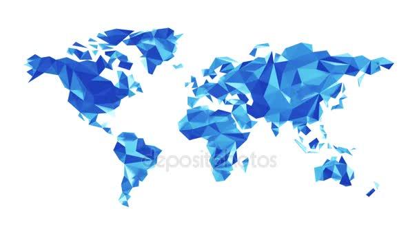 Modrá mapa světa z polygonálních trojúhelníky na bílém pozadí. Bezešvá smyčka. Alfa kanál obsažený. Ultra Hd - 4 k rozlišení. Další volby barev, které jsou k dispozici v mém portfoliu.