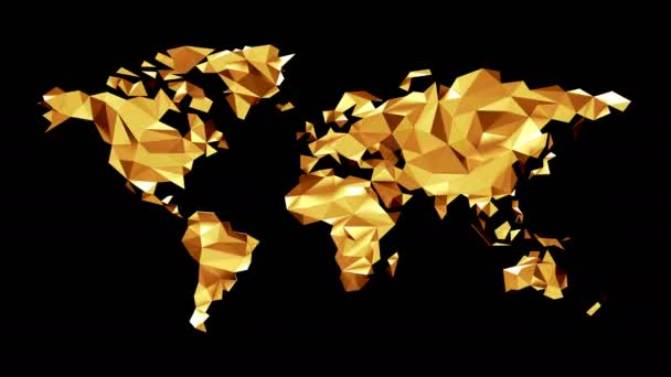 Gold World map made of polygonal triangles on black background. Seamless loop. Alpha channel included. Ultra HD - 4K Resolution. More color options available in my portfolio.