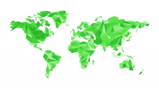 Zelený svět mapa z polygonálních trojúhelníky na bílém pozadí. Bezešvá smyčka. Alfa kanál obsažený. Ultra Hd - 4 k rozlišení. Další volby barev, které jsou k dispozici v mém portfoliu.