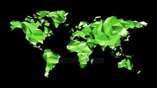 Zelený svět mapa z polygonálních trojúhelníky na černém pozadí. Bezešvá smyčka. Alfa kanál obsažený. Ultra Hd - 4 k rozlišení. Další volby barev, které jsou k dispozici v mém portfoliu.