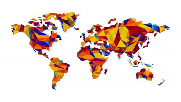 mehrfarbige Weltkarte aus polygonalen Dreiecken auf weißem Hintergrund. nahtlose Schleife. Alphakanal inbegriffen. Ultra HD - 4k Auflösung. mehr Farboptionen in meinem Portfolio.