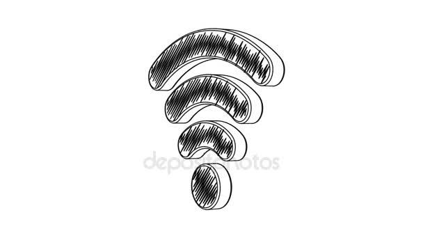 isoliertes, handgezeichnetes Wi-Fi-Symbol, das sich auf dem weißen Hintergrund dreht. nahtlose Schleifenanimation. mehr Symbole und Farboptionen in meinem Portfolio.