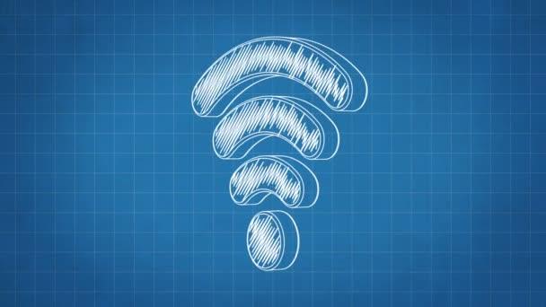 Handgezeichnete Wi-Fi-Symbol auf dem Bauplan Papier drehen. Nahtlose Schleife Animation. Weitere Symbole und Farboptionen in meinem portfolio.