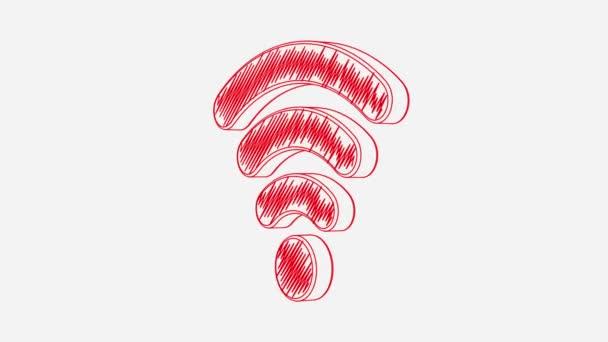 Isolierte handgezeichneten rotes Wi-Fi-Symbol auf dem weißen Hintergrund drehen. Nahtlose Schleife Animation. Weitere Symbole und Farboptionen in meinem portfolio.