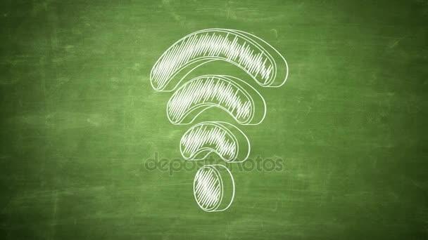 Handgezeichnete Wi-Fi Symbol Drehen an die grüne Tafel. Nahtlose Schleife Animation. Weitere Symbole und Farboptionen in meinem portfolio.