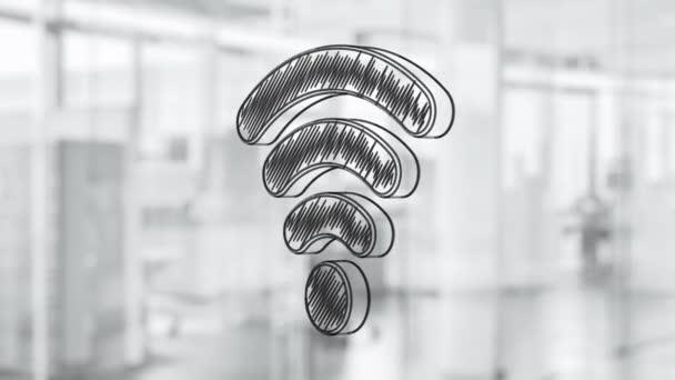 Handgezeichnete Wi-Fi Symbol Drehen auf die Glasplatte. Gemalt von schwarzen Marker (fühlte sich Tip Pen). Nahtlose Schleife Animation. Weitere Symbole und Farboptionen in meinem portfolio.