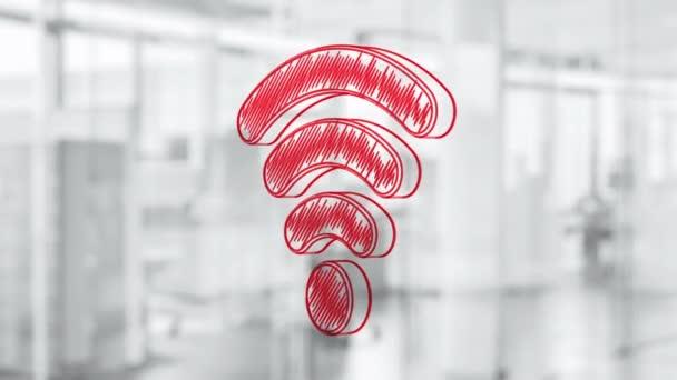 Handgezeichnete Wi-Fi Symbol Drehen auf die Glasplatte. Gemalt von roten Marker (fühlte sich Tip Pen). Nahtlose Schleife Animation. Weitere Symbole und Farboptionen in meinem portfolio.