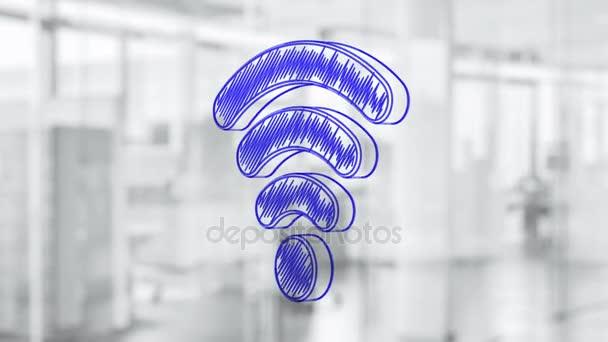 handgezeichnetes Wi-Fi-Symbol, das sich auf der Glasplatte dreht. gemalt mit blauem Marker (Filzstift). nahtlose Schleifenanimation. mehr Symbole und Farboptionen in meinem Portfolio.