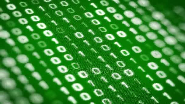 Technologie zelené pozadí s binární kód přesune zleva na digitální obrazovku. Bezešvá smyčka. Další možnosti barev, úhly kamery a různé typy animace v mém portfoliu.