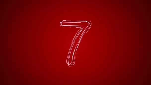 Hand drawn countdown on the red background. 4K, Ultra HD resolution. More color options available in my portfolio.