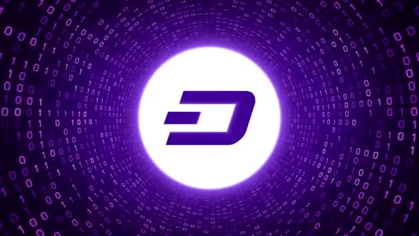 White crypto currency logo DASH form purple binary tunnel on purple background. Seamless loop. More logos and color options available in my portfolio.